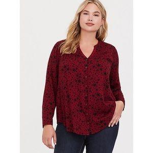 Torrid Red Star Button Up Shirt Size 3 (3X)